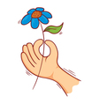flower on hand vector image vector image