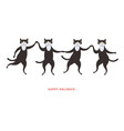 four cute dancing black cats vector image vector image