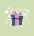 gift box with hearts coming out and decoration vector image vector image