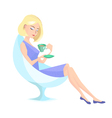 girl with a cup of coffe vector image