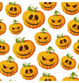 halloween pumpkin seamless pattern on white vector image vector image