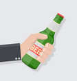 hand holding bottle beer in flat style vector image vector image