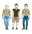 handsome men group standing wearing fashionable vector image vector image