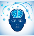 head brain with glowing with dots thoughts vector image