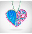 Heart of gems and ribbons vector image vector image