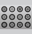 isolated wheel tyre and tire collection of icons vector image vector image