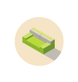 isometric green sofa seat couch 3d flat interior vector image