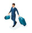 isometric to handsome young man on a business vector image vector image