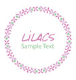 lilac flower wreath logo design text hand drawn vector image vector image