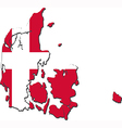 Map of Denmark with national flag vector image