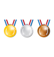 Medals Gold Silver Bronze First Second Third vector image vector image
