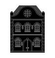 old european house flat black drawing vector image vector image