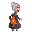 Old lady with a cat vector image