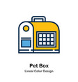 pet box line color icon vector image vector image