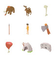 prehistoric hunting icons set isometric style vector image vector image