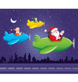 Santa and Elf in Aeroplane vector image vector image