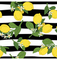 seamless of branches with lemons green leaves and vector image