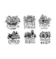 set black logos for a coffee shop vector image vector image