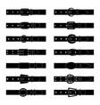set black silhouettes belts vector image