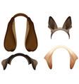 set dog ears mask isolated on white vector image