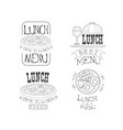 set hand drawn lunch logos fresh and vector image vector image
