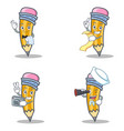 set of pencil character with waiter menu photo vector image vector image