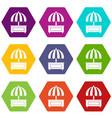 shopping counter with umbrella icon set color vector image vector image