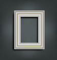 Silver carved frame on gray vector image
