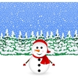 Snowman in snowy winter Christmas forest vector image
