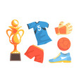 soccer icons set uniform ball trophy cup glove vector image