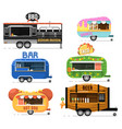 street fast food truck set in flat style vector image