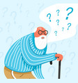 thinking old man in sleepwear thoughtful people vector image