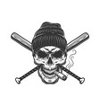 vintage gangster skull in beanie hat vector image vector image