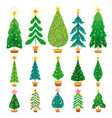 winter set of cartoon christmas tree vector image