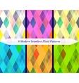 Set of six seamless modern plaid patterns vector image