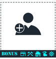 Add user icon flat vector image