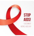 Aids Awareness Red heart Ribbon on white vector image vector image