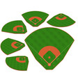 baseball green field with white line markup vector image