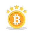 Bitcoin with five stars flat icon