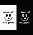 black and white coffee bean face icon with vector image