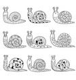 black and white snails collection isolated vector image
