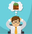 businessman dreams about money vector image vector image