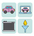 car service equipment tool support set icons vector image