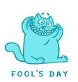 cartoon cat makes crazy face fools day vector image
