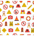 cartoon lifeguard seamless pattern background vector image