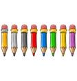 Cartoon set of cool color wooden pencils vector image vector image