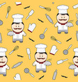 chef cute cartoon character seamless pattern on vector image