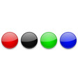 colored glass 3d buttons round icons vector image