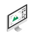 Computer monitor with printer program icon vector image vector image