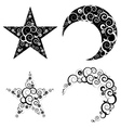 Crescent Moon and Star Symbols vector image